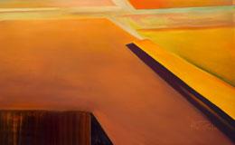 calming abstract painting – old orange – unusual desert art