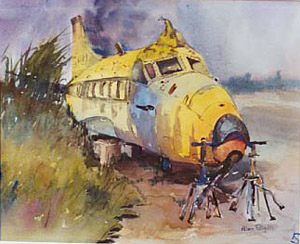 aviation art heron