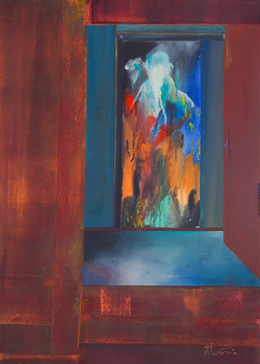 Semi abstract art imaginative original painting Visitors II