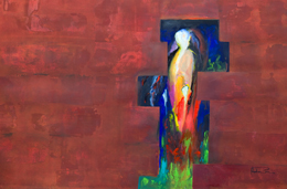 mysterious figure paintings for sale. contemporary figure art observe original semi abstract figure paintings