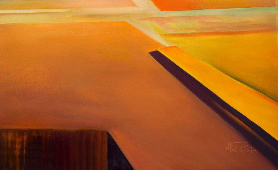 calming abstract painting old orange