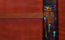 mysterious abstract figure paintings Intrusion