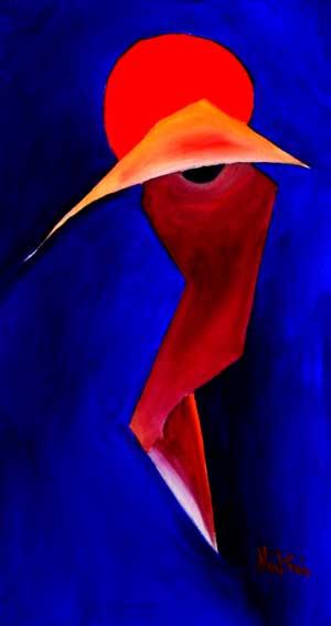 red moon I oriental art