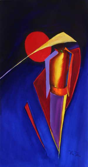 Chinese art (not) an abstract figure painting with oriental feeling Red Moon II