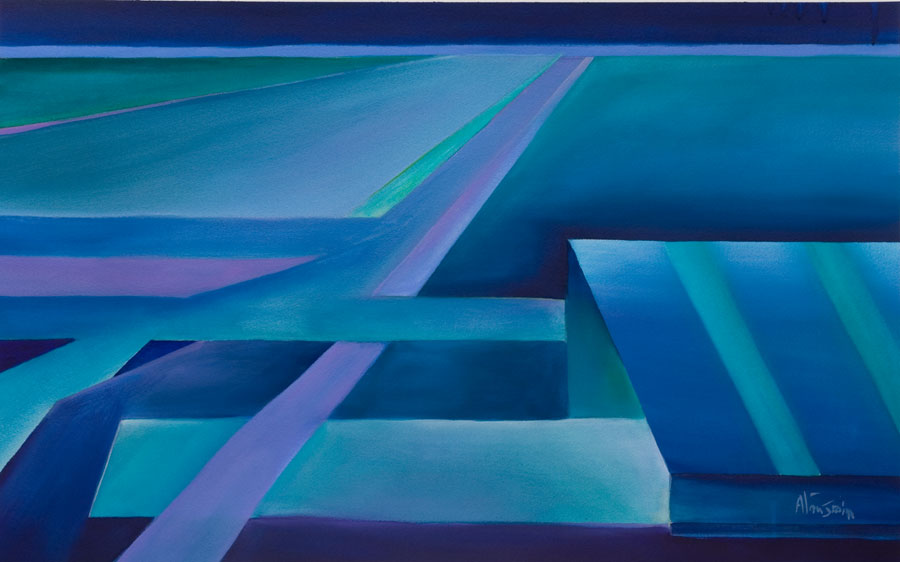 vibrant blue contemporary painting Night Arrival at a deserted airport