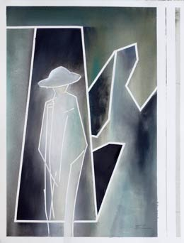 abstract figure paintings for sale. contemporary figure art a soldiers return