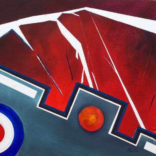 different abstract aviation war art- destruction