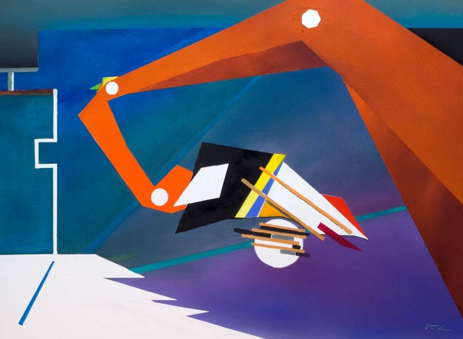 geometrical shapes make modern vibrant art a watercolour painting