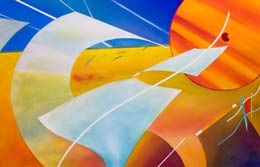 geometric abstraction painting – Happy Flight!