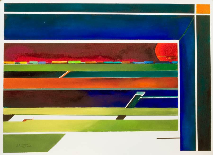 geometric abstract desert art – passing freight