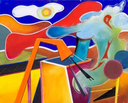 colourful surreal paintings – pollution!