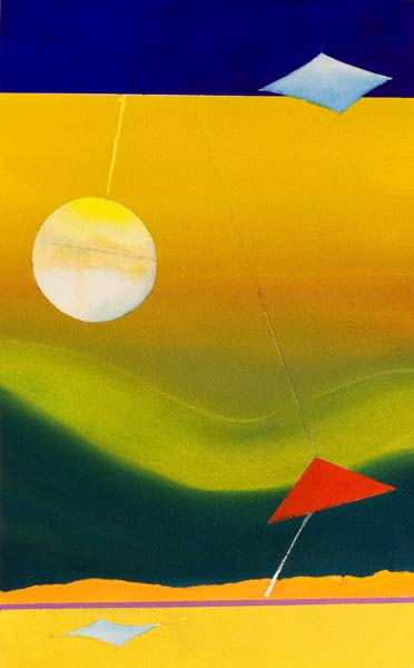 a surreal painting in yellow sold