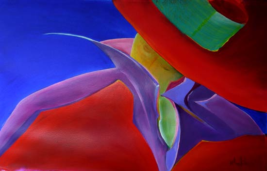 vibrant colours in a figure painting