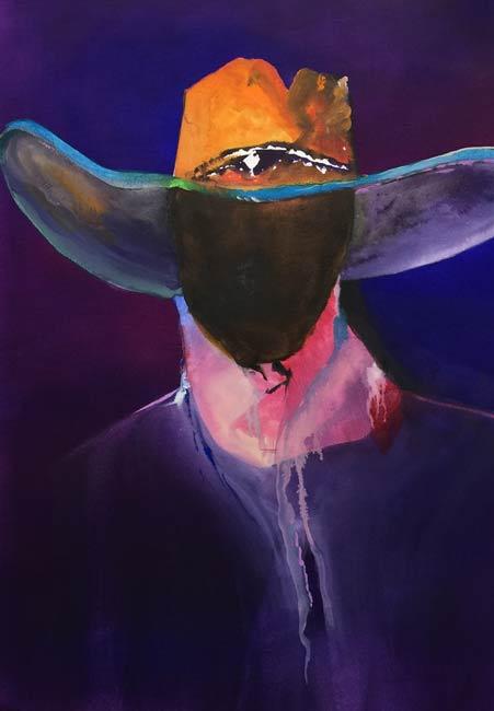 hat paintings cowboy